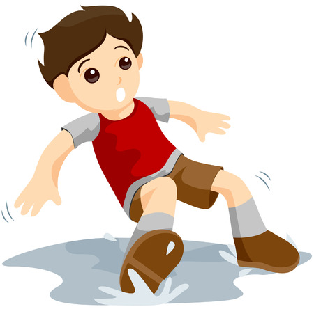 slips: Boy Slipped with Clipping Path