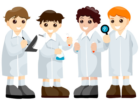 Science Kids with Clipping Path Stock Vector - 4101956
