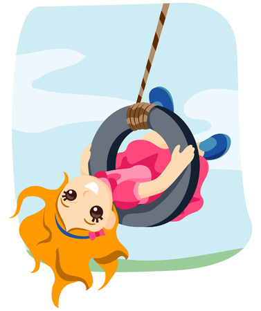 suspend: Kid Swing with Clipping Path Illustration