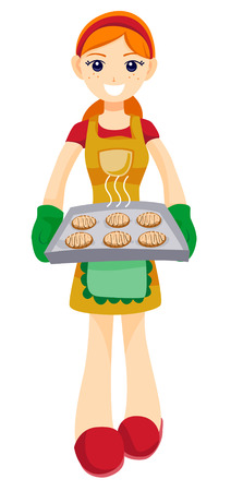 Teen with Freshly Baked Cookies with Clipping Path Stock Vector - 4127730