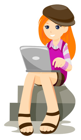 Teen with Laptop with Clipping Path Vector