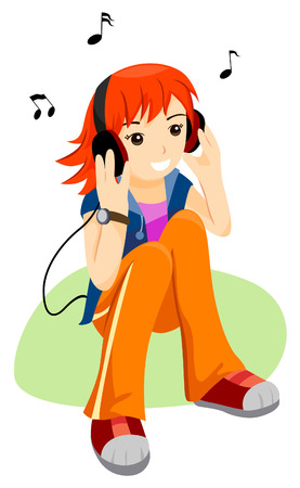 Teen listening to Music with Clipping Path Illustration