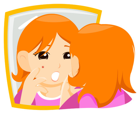 Teen with Pimple with Clipping Path Stock Vector - 4127747