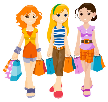 Teenagers Shopping with Clipping Path Vector