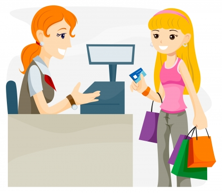 malls: Teen using Credit Card with Clipping Path Illustration