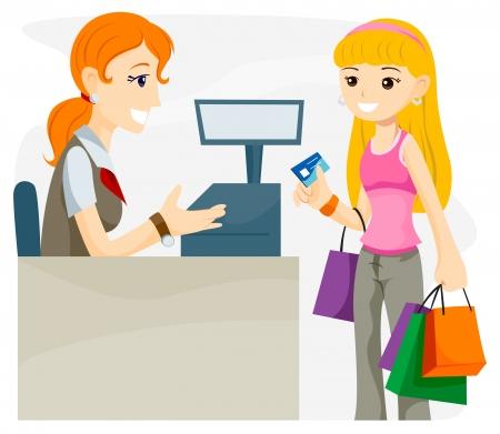 Teen utilisant la carte de crédit With clipping path