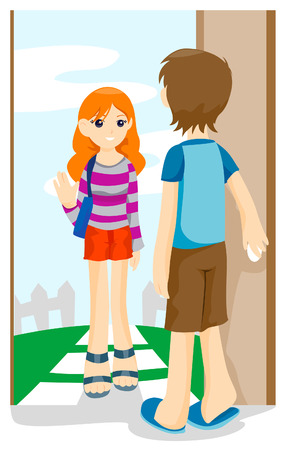 Girl Visiting Friend with Clipping Path Stock Vector - 4127738