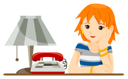 Teen waiting for a Call with Clipping Path Vector