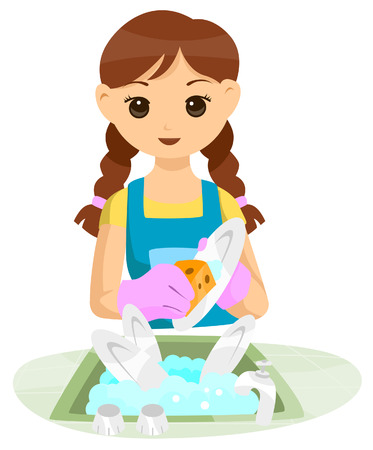 dish: Teen doing Household Chore with Clipping Path