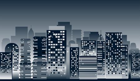 Cityscape: Buildings at Night Illustration Vector