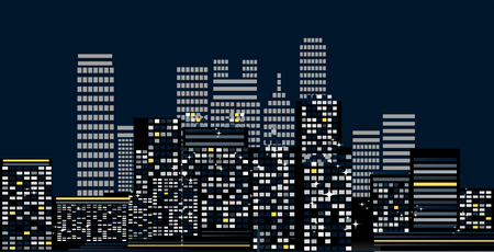 Cityscape: Buildings at Night Illustration Stock Vector - 4159647