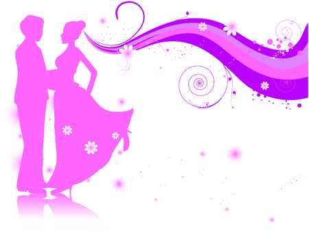 Bride and Groom with Clipping Path Vector