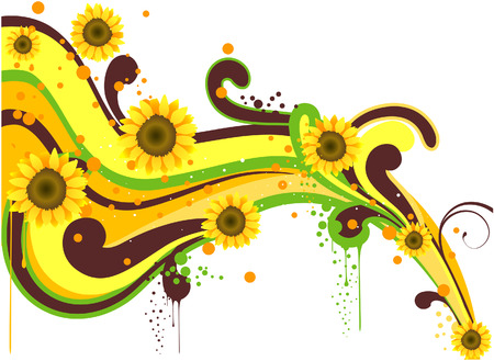 Sunflower Wave with Clipping Path Vector