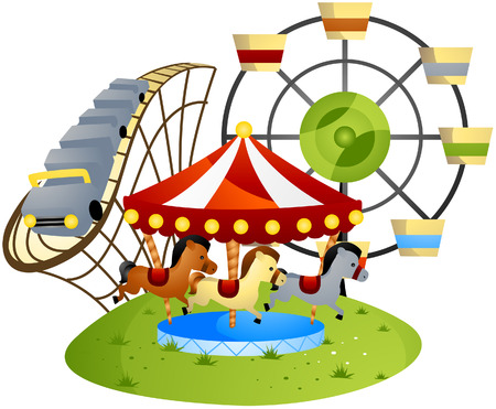 Amusement Park Cartoon with Clipping Path
