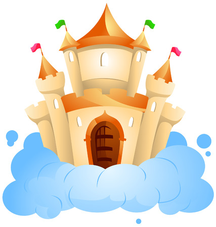 Castle on Cloud with Clipping Path Stock Vector - 4198401