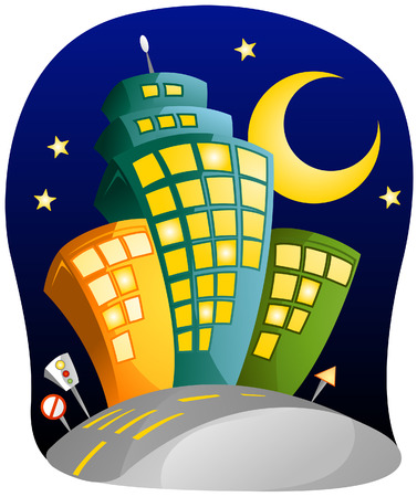 City at Night with Clipping Path Vector