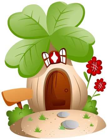 flower clipart: Clover House with Clipping Path
