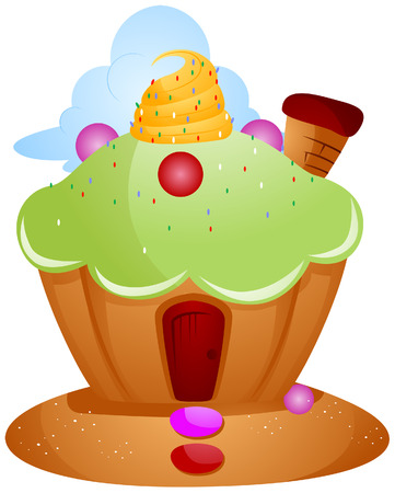 sweets: Cupcake House with Clipping Path Illustration