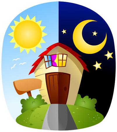 tag und nacht: Tag und Nacht mit Clipping-Pfad Illustration