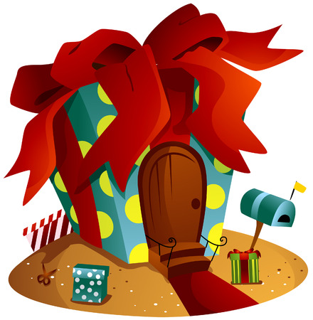 Gift House with Clipping Path Stock Vector - 4198402