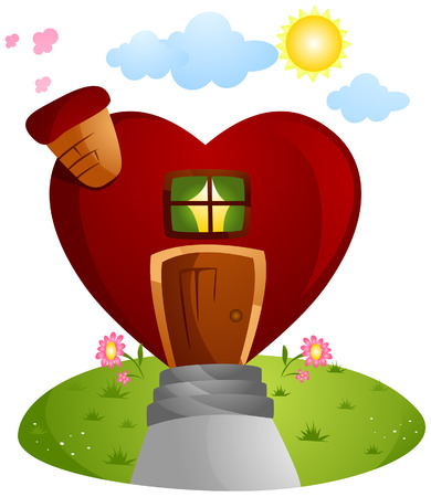 Heart House with Clipping Path Stock Vector - 4198405
