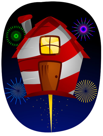 House and Fireworks with Clipping Path Stock Vector - 4206173