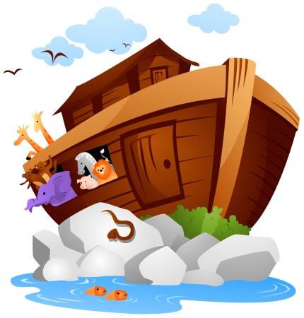 barco caricatura: Noah's con Arco Recorte Ruta