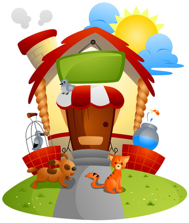 pet store: Pet Store with Clipping Path Illustration