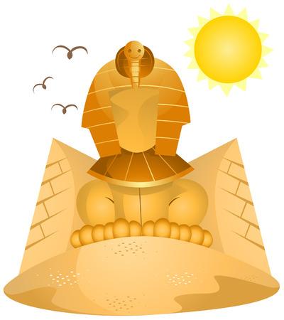 sfinx: Sphinx en piramiden met uitknippad Stock Illustratie