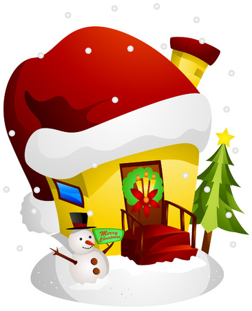 Christmas House with Clipping Path Vector