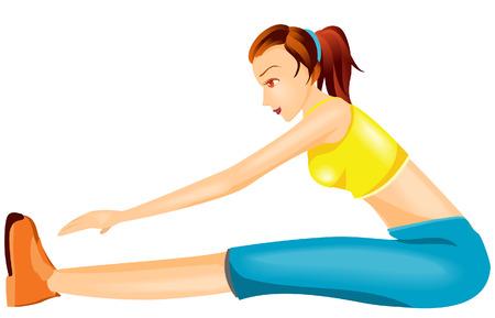 mujer ejercitandose: El ejercicio de mujer con recorte Ruta Vectores