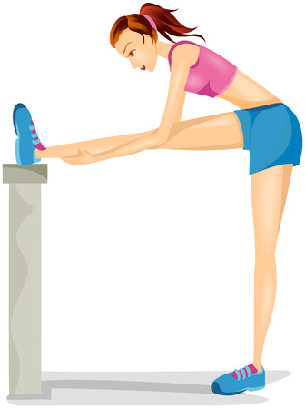 Woman Exercising with Clipping Path Vector