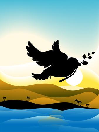 Dove (Peace) Noahs Arc Silhouette Series Illustration