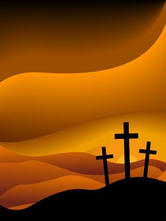 jesus on cross: Venerd� Santo Serie Silhouette Vettoriali