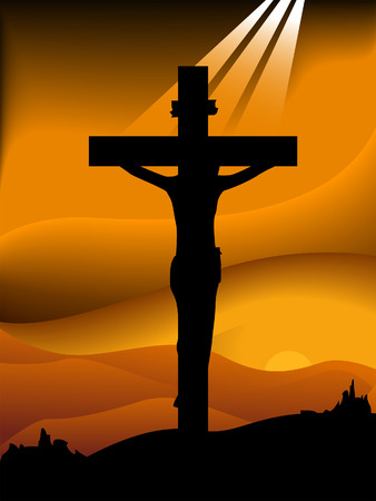 jesus cross: Good Friday Silhouette Series Illustration
