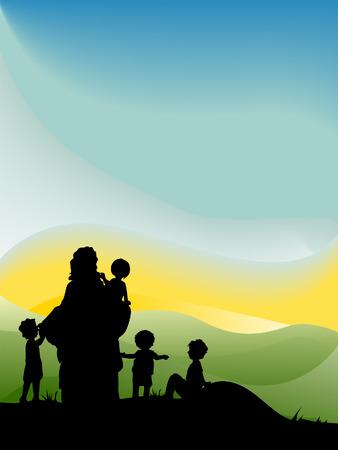 Jesús con los niños Silueta Serie