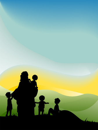 Jesus with Children Silhouette Series Stock Vector - 4206157