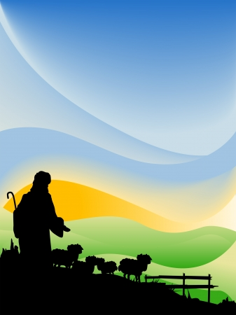 Jesús como el Pastor Silueta Serie Ilustración de vector