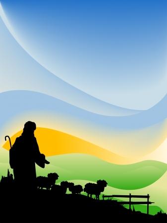 Jesus as the Shepherd Silhouette Series Stock Vector - 4206162