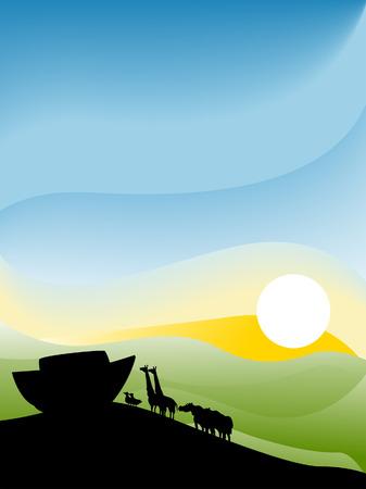 Noahs Arc Illustration Silhouette Series