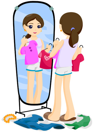 Teen checking Clothes with Clipping Path