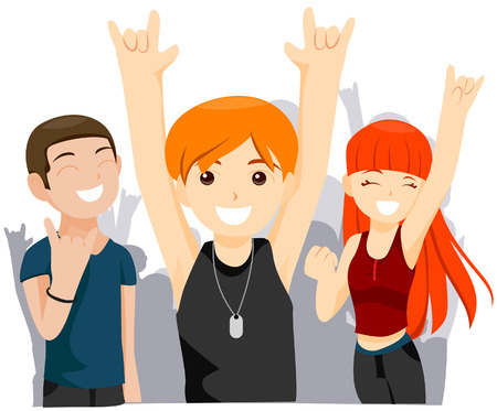 dance preteen: Teens at a Concert with Clipping Path Illustration