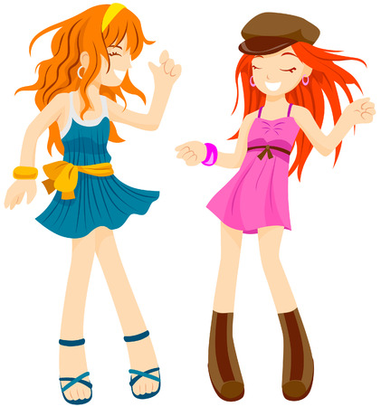 Dancing Girls with Clipping Path Stock Vector - 4246333