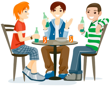 boy friend: Teens Hanging Out with Clipping Path Illustration