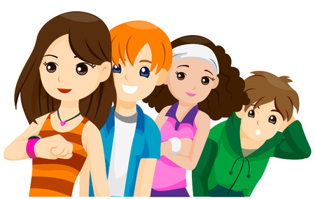 waiting in line: Teens waiting in Line with Clipping Path