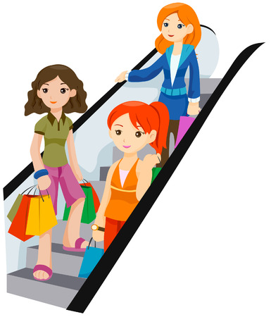 Girls Shopping with Clipping Path Vector