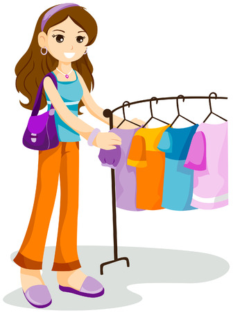 Girl Shopping with Clipping Path Stock Vector - 4246338