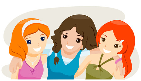 Girl Bestfriends with Clipping Path Stock Vector - 4246328