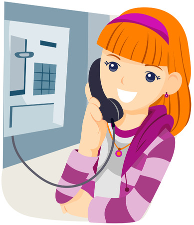 Girl on Phone Booth with Clipping Path Vector