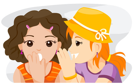 Teen whispering with Clipping Path Stock Vector - 4246331